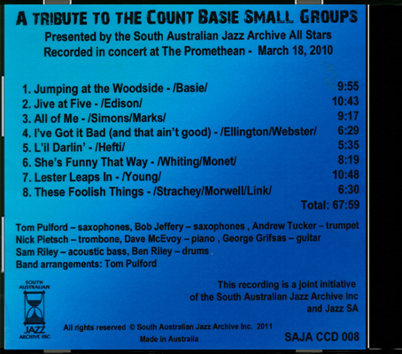 CCD 008 A Tribute to the Count Basie SG_Back