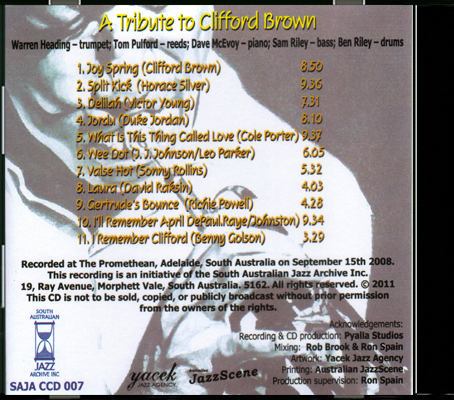 CCD 07 A Tribute to Clifford Brown_Back